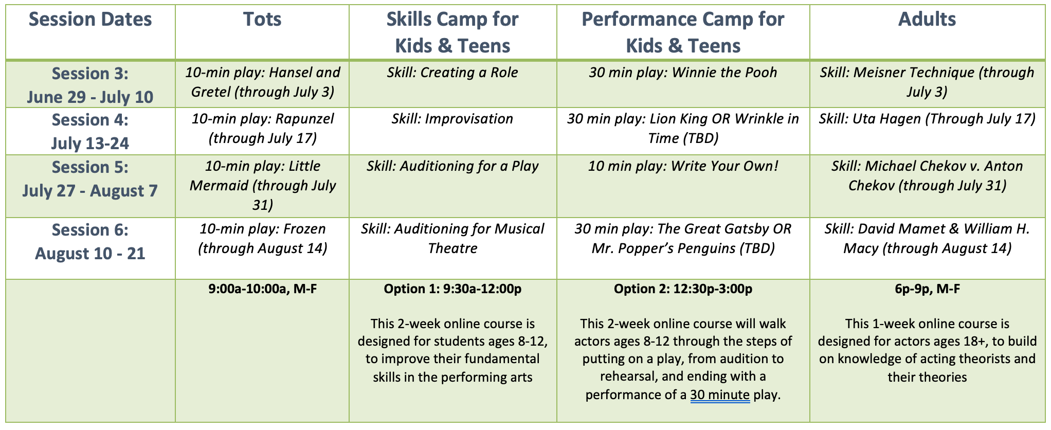 Summer Camp Sessions 3-6